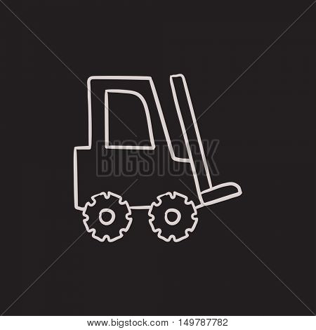 Forklift vector sketch icon isolated on background. Hand drawn Forklift icon. Forklift sketch icon for infographic, website or app.