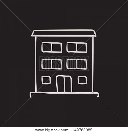 Residential building vector sketch icon isolated on background. Hand drawn Residential building icon. Residential building sketch icon for infographic, website or app.