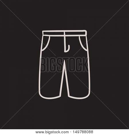 Male shorts vector sketch icon isolated on background. Hand drawn Male shorts icon. Male shorts sketch icon for infographic, website or app.