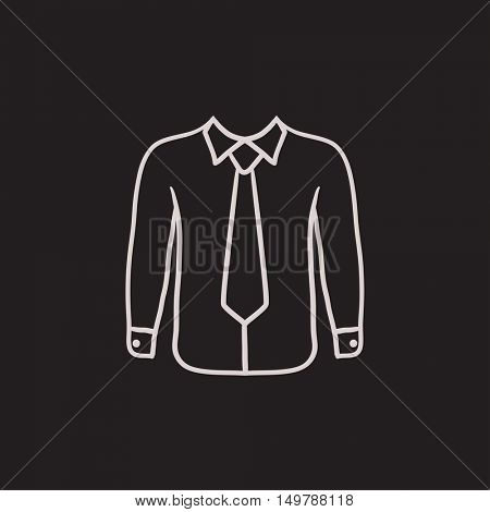 Shirt with tie vector sketch icon isolated on background. Hand drawn Shirt with tie icon. Shirt with tie sketch icon for infographic, website or app.