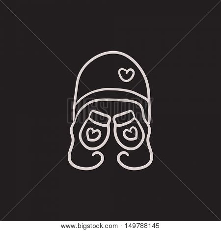 Hat and mittens for children vector sketch icon isolated on background. Hand drawn Hat and mittens for children icon. Hat and mittens for children sketch icon for infographic, website or app.