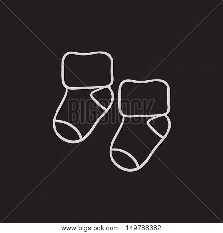 Baby socks vector sketch icon isolated on background. Hand drawn Baby socks icon. Baby socks sketch icon for infographic, website or app.