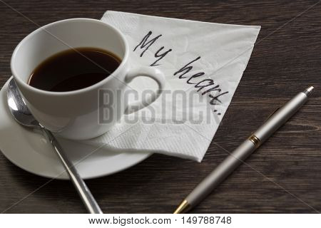 Love confession on napkin