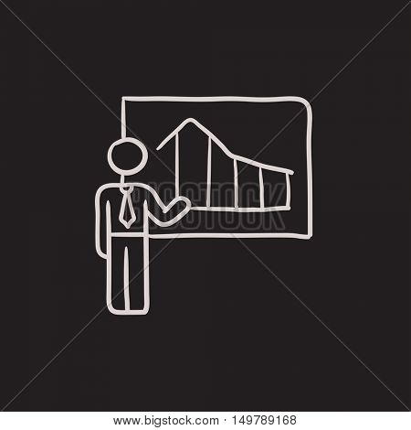 Businessman with infographic  vector sketch icon isolated on background. Hand drawn Businessman with infographic  icon. Businessman with infographic  sketch icon for infographic, website or app.