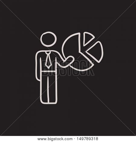 Businessman pointing at pie chart vector sketch icon isolated on background. Hand drawn Businessman pointing at chart icon. Businessman pointing at chart sketch icon for infographic, website or app.