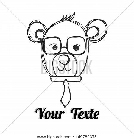 Mr.Bear with necktie hand drawn with your text vector