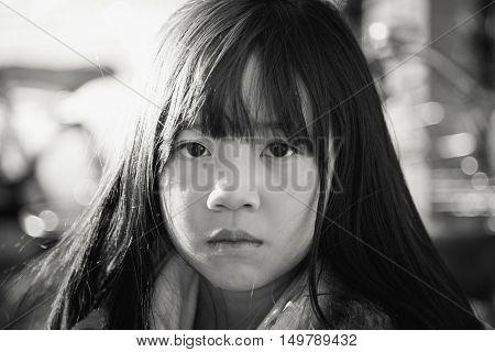 Beautiful asian girl face on close up