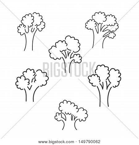 tree hand drawn cute 6styles set vector
