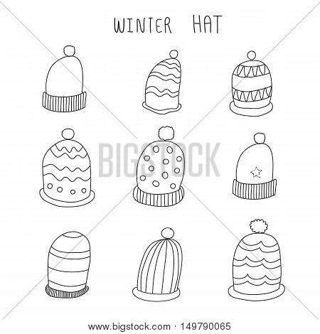winter hat hand drawn cute vector set