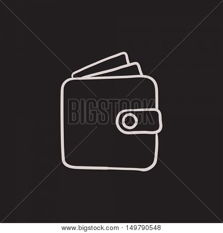 Wallet sketch icon for web, mobile and infographics. Hand drawn Wallet icon. Wallet vector icon. Wallet icon isolated on white background.