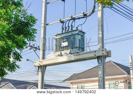 Electrical transformer is on the electric pole