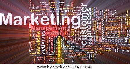 Word cloud concept illustration of marketing process glowing light effect