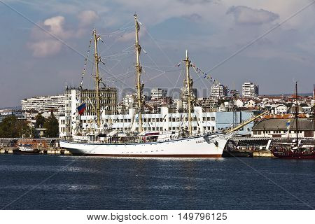 Varna, Bulgaria - October 01: International Regatta SCF BLACK SEA TALL SHIPS REGATA 2016. In Varna profit sailboats to celebrate the end of the regatta