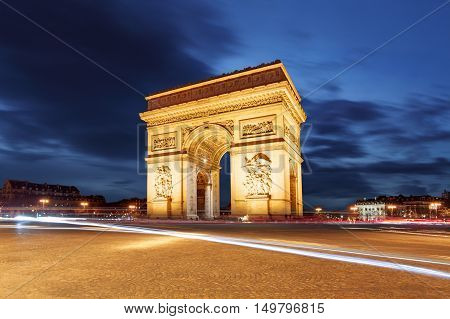 Arc De Triomphe and light trails Paris
