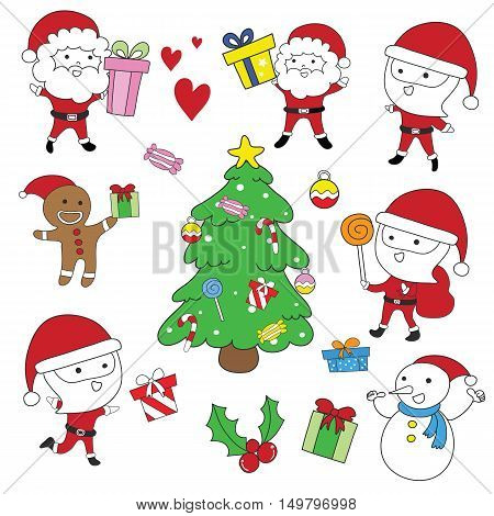Santa Clauscookie ChristmasSnowman and Christmas tree vector set
