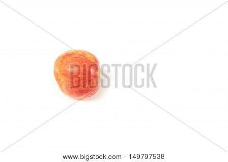 Red Apple on white background top view