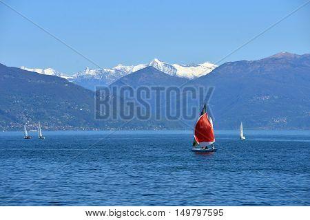 ITALY MAGGIORE 25 AORIL 2014 Lake Maggiore in spring day ITALY MAGGIORE 25 AORIL 2014