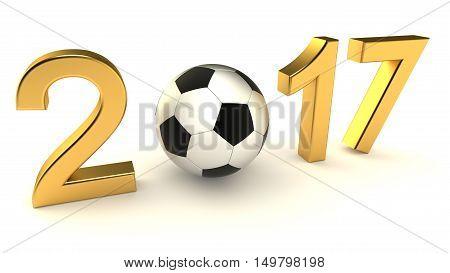 Year 2017 soccer ball on the white background, 3d-illustration