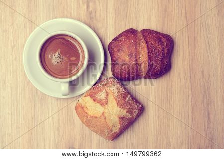 German Baps With Coffee On Wooden