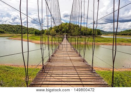 Beautiful of rope bridge in Kaeng Krachan National Park Phetchaburi Thailand