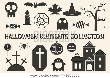 Halloween objects silhouette collection. Ghost, witch hat, pumpkin, mansion, spider web, bat, grave, sweets, lantern, skull and other outline elements.
