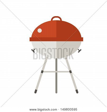 Barbecue vector illustration in flat design. Grill icon isolated on white background. Red barbecue grill pictogram. Outing or weekend picnic equipment.