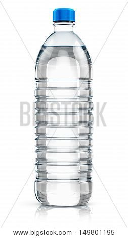 3D render illustration of plastic bottle with clear purified drink carbonated water isolated on white background with reflection effect