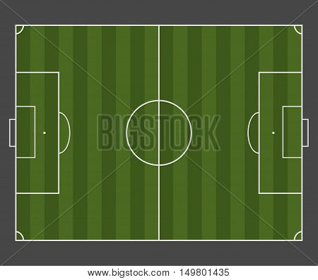 Green soccer field. Top view with white marking. Vector illustration