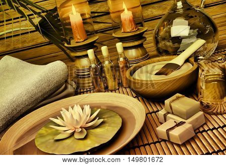 The still life Spa with aromatic oil candles a lotus flower blue clay soap and towels. 3D illustration