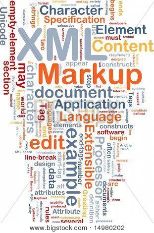 Word cloud concept illustration of XML markup language