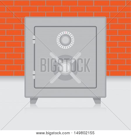 Metal safe on brick wall background. Bank safe and combination safe vector illustration