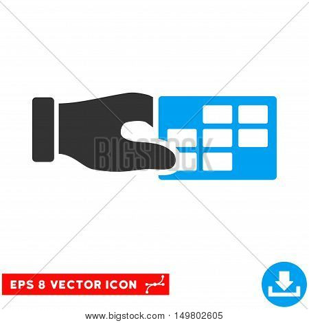 Blue And Gray Timetable Properties EPS vector icon. Illustration style is flat iconic bicolor symbol on a white background.