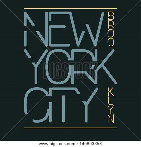 New York City Typography Graphics, T-shirt Printing Design. New York City, Brooklyn original wear. Print for sportswear apparel - vector illustration