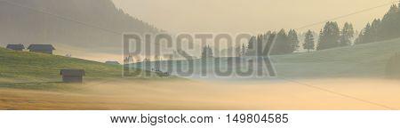 Morning fog in the Alps, Dolomites, Italy