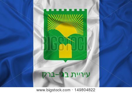Waving Flag of Bnei Brak Israel, with beautiful satin background. 3D illustration