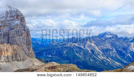 The view from the mountain top, Dolomites, South Tyrol, Italy