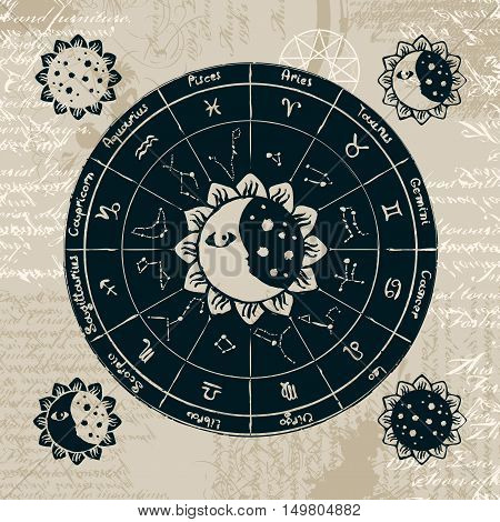 zodiac with the sun moon and constellations against the background of the papyrus with different symbols and pentagrams