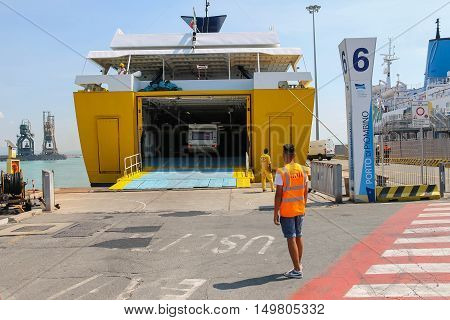 Piombino Italy - June 30 2015: Ferry boat Corsica Express unloading vehicles from cargo hold