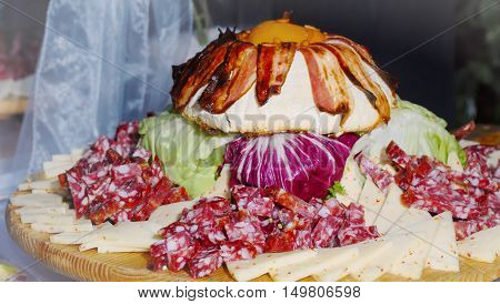 Wedding meat food composition on wood table