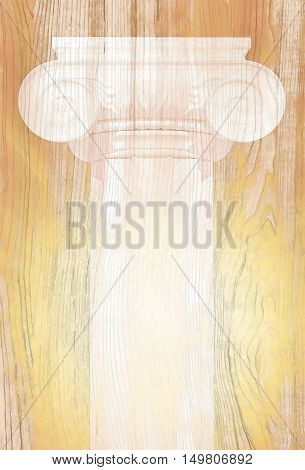 Silhouette of big Greek column on an old tree with gilding. 3D illustration