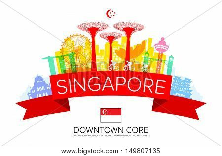 Beautiful Singapore Travel Landmarks. Vector and Illustration.