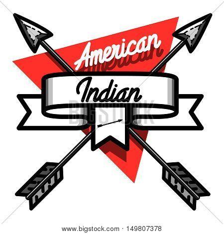 Color vintage american indian emblem for your design
