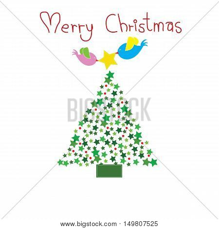 two birds put the star on top of Chirstmas tree with word Merry Christmas