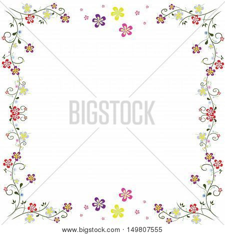 red frame flowers line swirl vector isolated