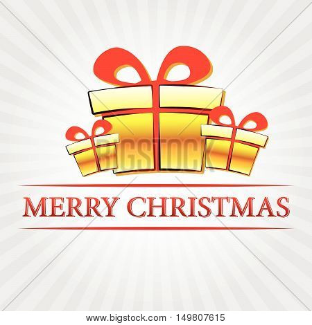 merry christmas - text with golden gift boxes signs over silver grey rays, vector