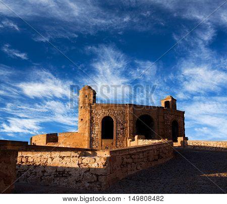 Essaouira Fortress, Morocco. Essaouira is a city in the western Moroccan economic region of Marrakech Tensift Al Haouz on the Atlantic coast.