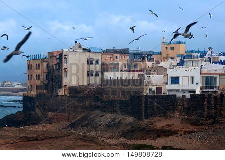 Essaouira Fortress in Morocco on the Atlantic coast. It has also been known by its Portuguese name of Mogador.