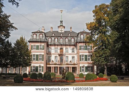 FRANKFURT, GERMANY-SEPTEMBER 28, 2016:Bolongaro Palace in the bolongaro park in frankfurt hoechst