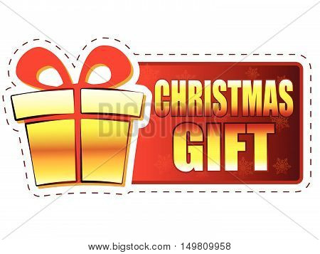christmas gift - text and present box sign on red banner with snowflakes, business holiday concept, vector