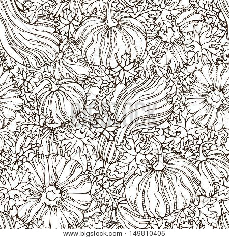 Vector Seamless Sketch Pumpkin Pattern.